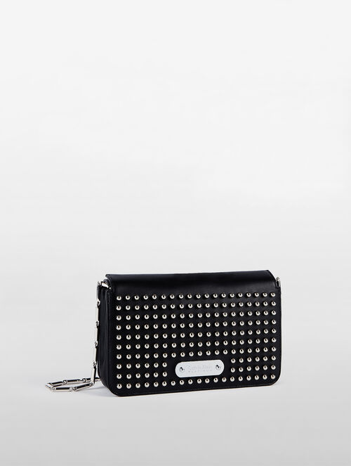 CALVIN KLEIN FLARED SMALL BOX CLUTCH WITH STUDS