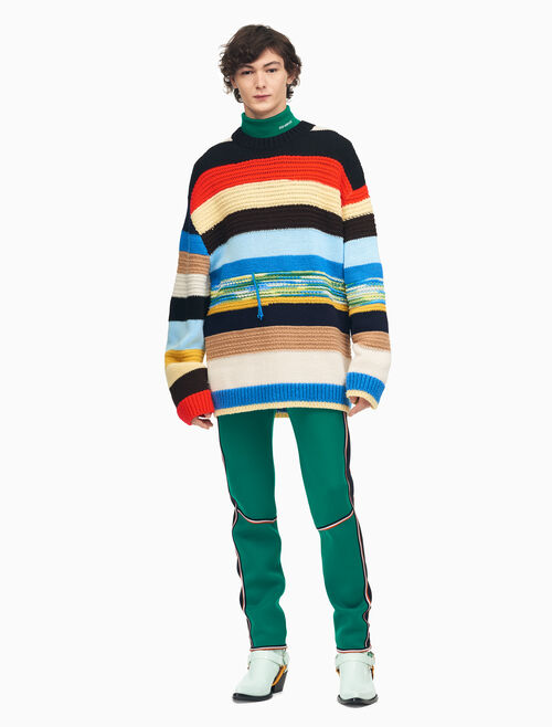CALVIN KLEIN MIXED STRIPE CREWNECK KNIT SWEATER