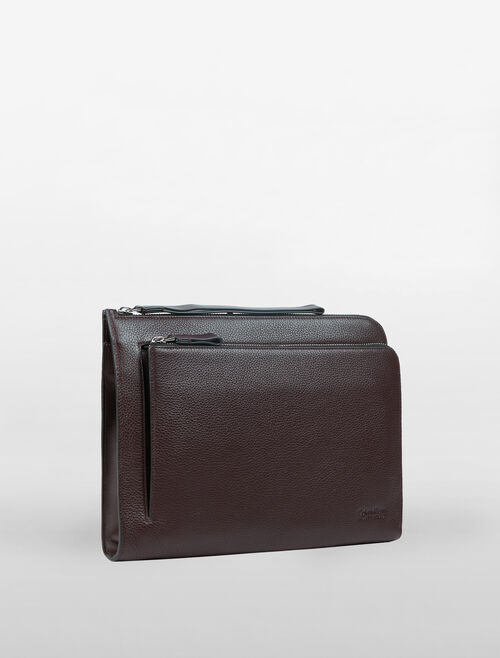 CALVIN KLEIN L-ZIP LEATHER POUCH