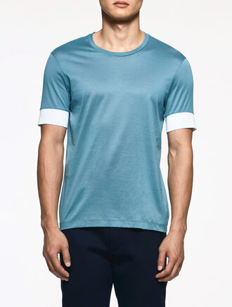 CALVIN KLEIN LIGHTWEIGHT MERCERIZED PIMA COTTON SHORT SLEEVES TOP
