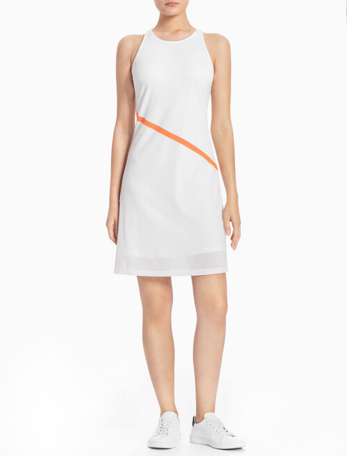 CALVIN KLEIN MESH LAYERED SLEEVELESS DRESS
