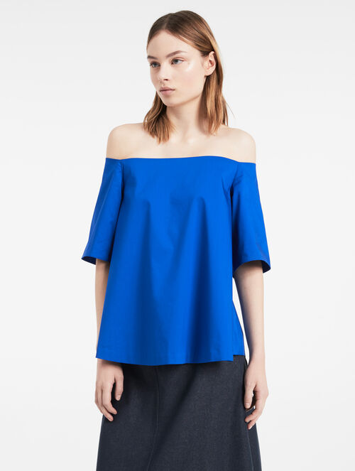 CALVIN KLEIN FINE STRETCH POPLIN OFF-SHOULDER TOP