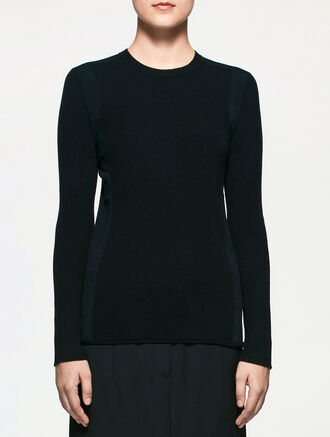 CALVIN KLEIN SOFT WOOL SILK WITH VISCOSE ELITE RIBBED LONG SLEEVES TOP