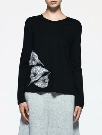 CALVIN KLEIN FLOWER EMBROIDERED TOP