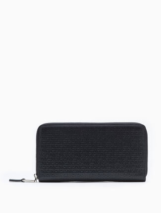 CALVIN KLEIN ALL-OVER LOGO ZIP-AROUND WALLET