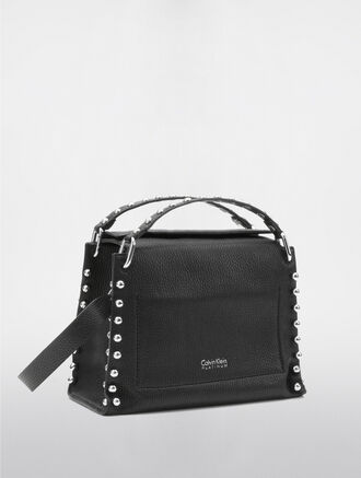CALVIN KLEIN CONTOURED MEDIUM SATCHEL WITH STUDS