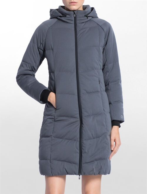 CALVIN KLEIN LONG DOWN JACKET WITH HIDDEN HOOD