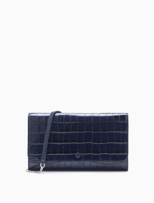CALVIN KLEIN EMBOSSED CROCODILE CHAIN WALLET