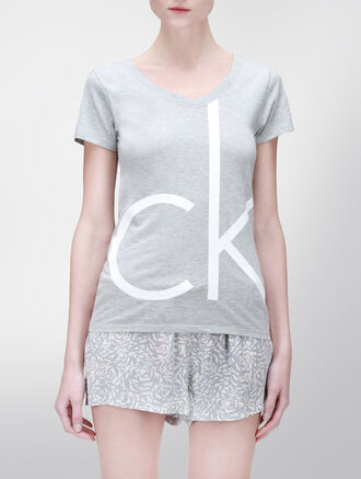 CALVIN KLEIN V NECK SHORT SLEEVES TOP