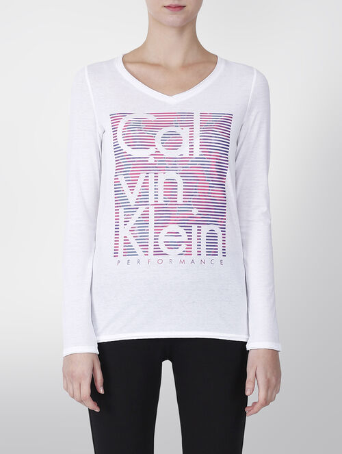 CALVIN KLEIN V NECK LONG SLEEVE TEE WITH ORGANIQUE PRINT