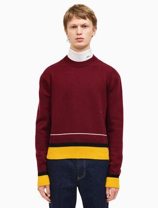 CALVIN KLEIN コントラストトリムをあしらったクルーネックセーター