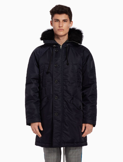 CALVIN KLEIN Long puffer jacket with fur-trimmed hood
