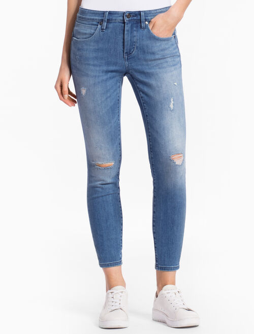 CALVIN KLEIN LINGER MID Distressed STRAIGHT BODY JEANS