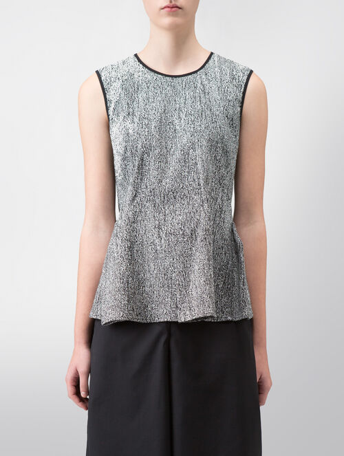 CALVIN KLEIN TEXTURAL DOUBLE FACE JACQUARD PANEL TOP