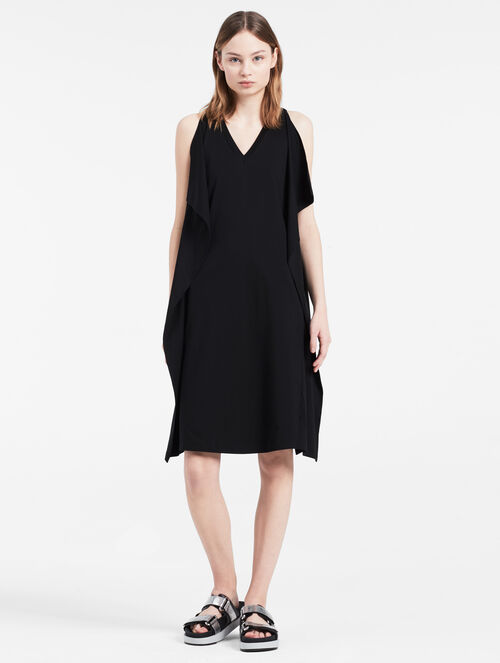 CALVIN KLEIN COMPACT INTERLOCK RUFFLE DRESS