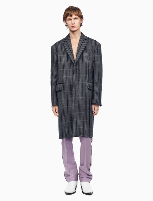 CALVIN KLEIN OVERSIZED SINGLE-BREASTED BOXY COAT IN PLAID