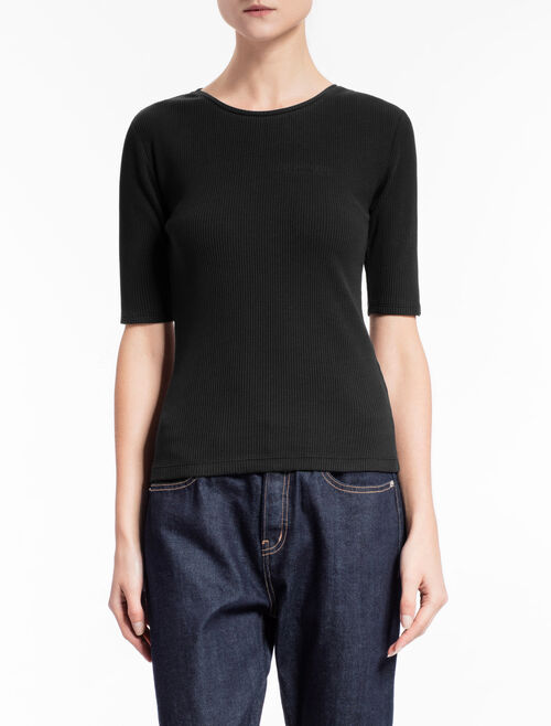 CALVIN KLEIN RIBBED TEE WITH MID-LENGTH SLEEVES