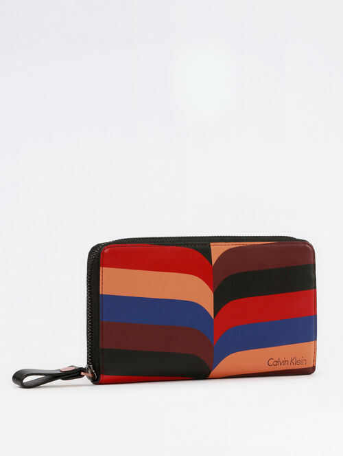 CALVIN KLEIN CHEVRON PRINT LONG ZIP AROUND WALLET