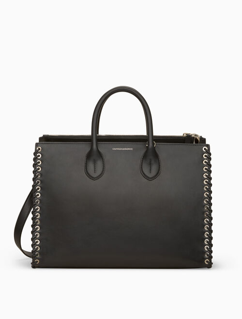 CALVIN KLEIN WHIP STITCH LEATHER TOTE