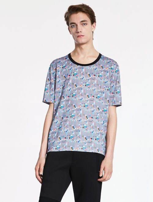 CALVIN KLEIN DOUBLE MERCERIZED COTTON Short Sleeves GLITCH PRINT TEE