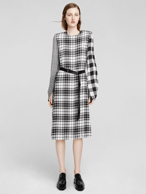 CALVIN KLEIN SILK PRINTED PLAID LONG SLEEVE DRESS