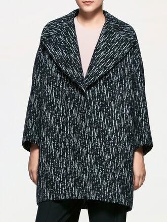 CALVIN KLEIN WOOL JACQUARD EASY COAT