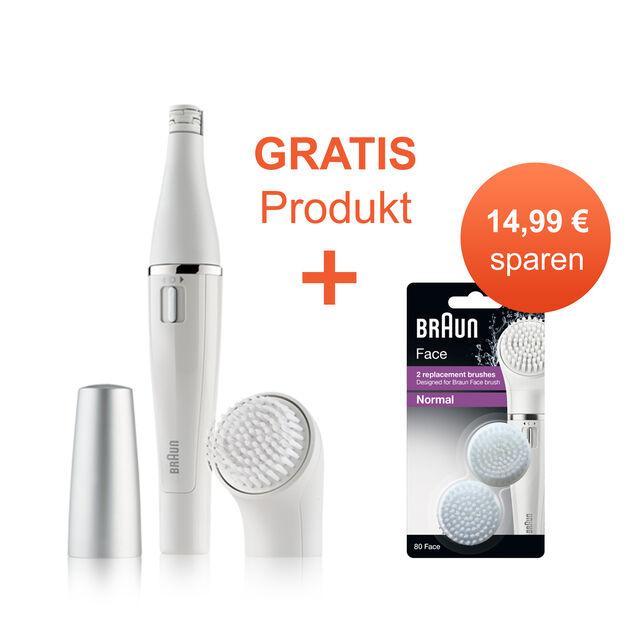 Geschenke zum Muttertag: Braun Face 810 Gesichtsepilierer mit Reinigungsbürste + gratis Braun Face 80 (Nachfüllpack mit 2 Bürstenköpfen)