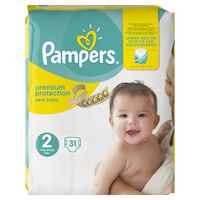 Pampers Premium Protection New Baby Größe 2 (Mini) 3–6 kg Tragepack, 31 Windeln