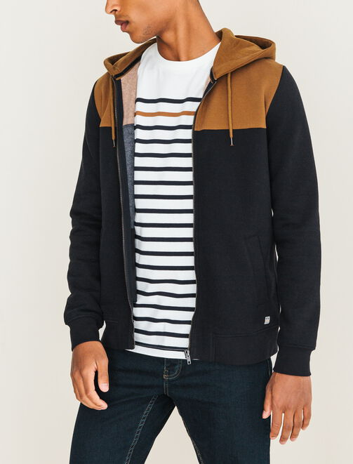 Sweat zippé capuche color-block homme