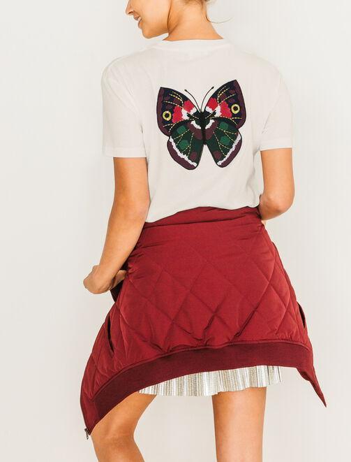 T-Shirt broderie dos papillon femme