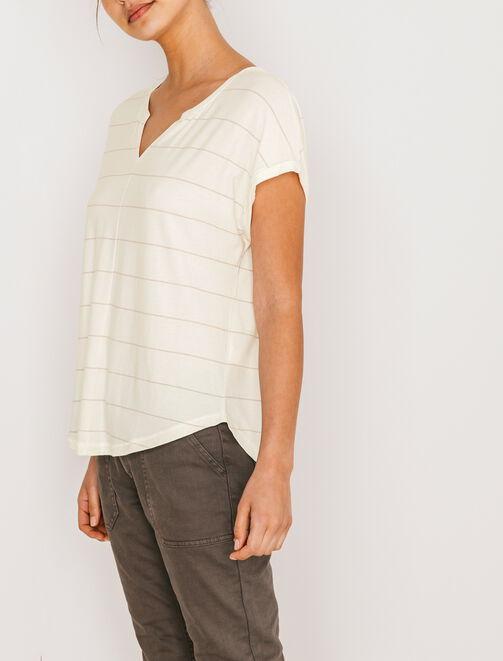 T-shirt col tunisien rayures lurex femme