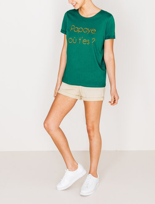 "Tee shirt imprimé ""Papaye où t'es?"" femme"