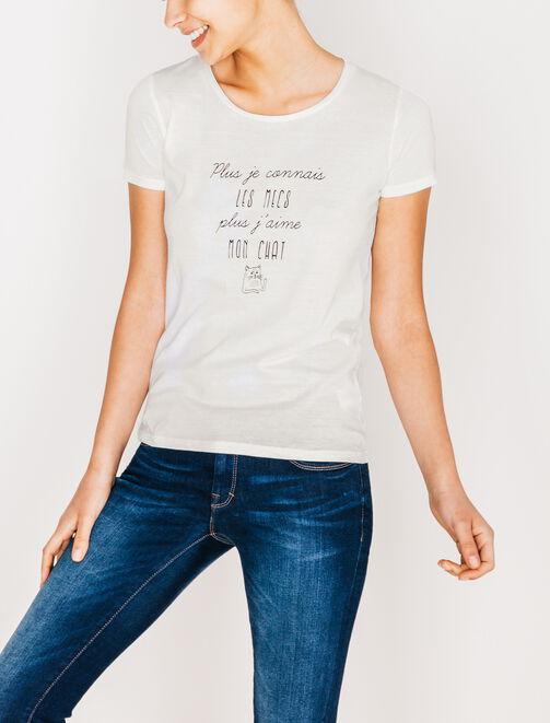 Tee shirt à message mecs vs chat femme