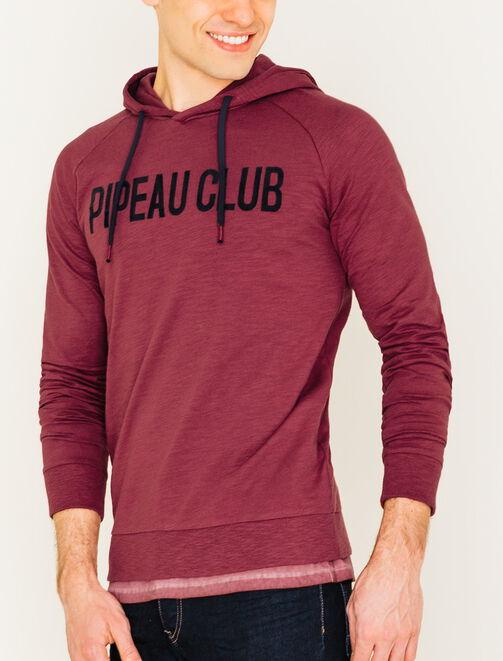"""Tee shirt manches longues à capuche """"Pipeau club"""" homme"""