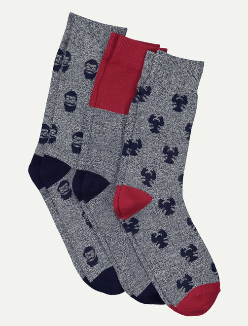 Lot de 3 chaussettes jacquard fun homme