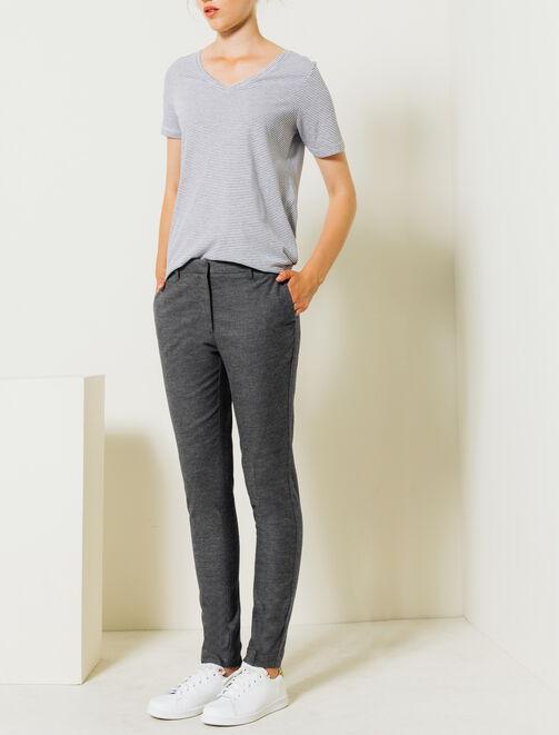 Pantalon effet lainage femme