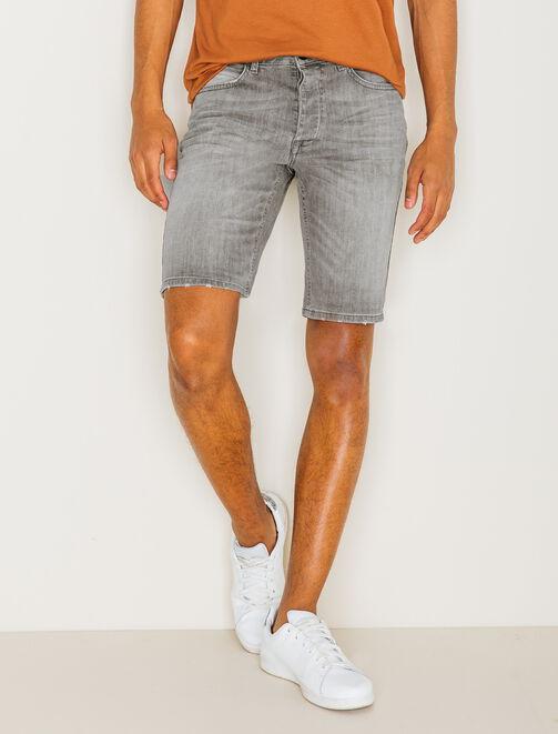 Bermuda en jean gris homme