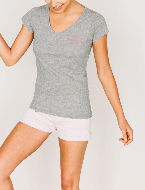 """T-shirt col V """"Parfaitement imparfaite"""" femme"""