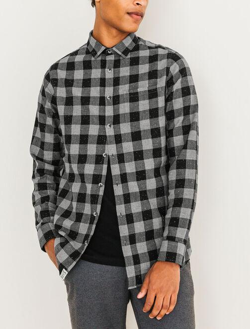 Chemise à carreaux chinée homme