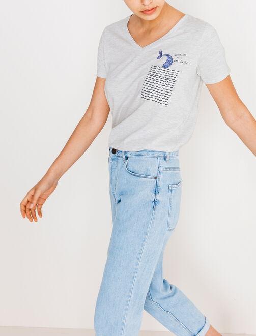 Tee shirt à poche imprimée femme