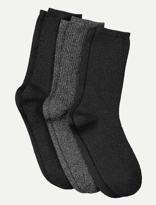 Lot de 3 paires de chaussettes lurex femme