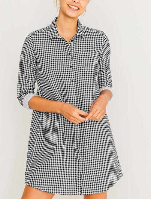 Robe chemise imprimée vichy femme