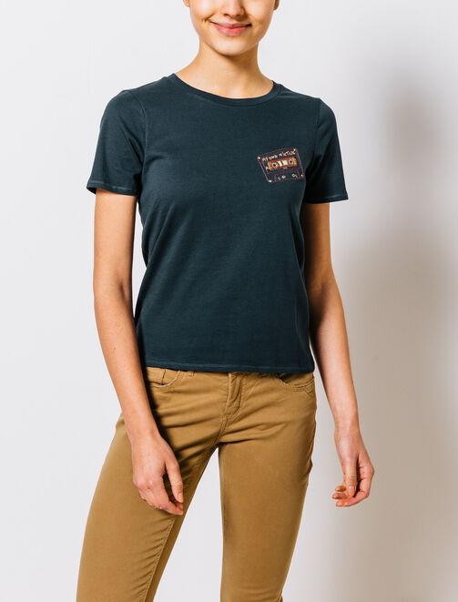 """T-shirt brodé motif """"casette"""" femme"""
