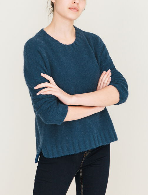 Pull col rond poilu  femme
