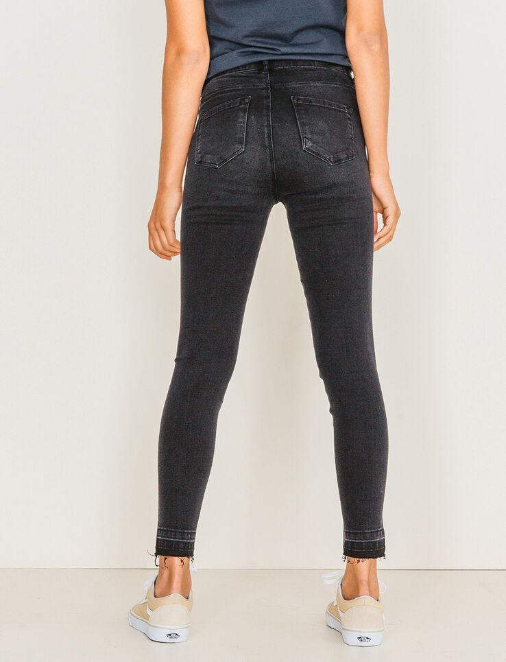 jeans skinny cropped taille haute femme noir bizzbee. Black Bedroom Furniture Sets. Home Design Ideas