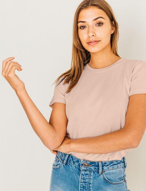 T-shirt basique à côtes femme
