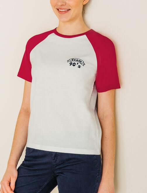 T-shirt style campus bicolore femme