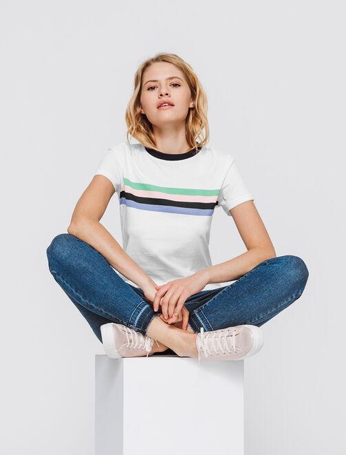 T-shirt à rayures multicolores  femme