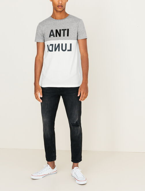 "T-shirt color-block ""Anti Lundi"" homme"