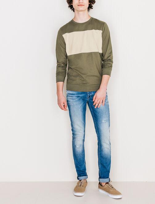 Tee shirt color-block et patch poitrine homme
